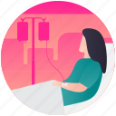 ill woman, injured girl, patient, patient bed, sick female icon