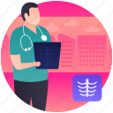 bones report, diagnose disease, medical report, x ray report, x ray scanning icon