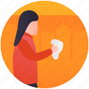 cleaning mirror, cleaning staff, girl sweeping, mirror dusting, sanitizing icon