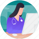 health report, lab person, patient report, report typing, report writing icon