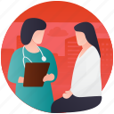 checking patient, doctor consultation, doctor suggestion, health precaution, patient checkup icon