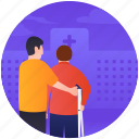 crutches, disabled person, handicap, psychological baggage, wreck legs icon
