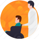 disabled person, handicap, patient care, priority seat, psychological baggage icon