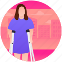 crutches, disabled girl, handicap, psychological baggage, wreck legs icon