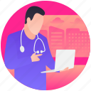 diagnosing disease, health report, patient report, report checking, review report icon