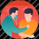 diagnosing disease, disease treatment, healthcare, patient care, patient checkup icon