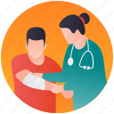 accident, arm injury, arm treatment, patient bandage, person injury icon
