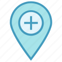 hospital, hospital location, location, medical, pin icon