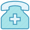 clinic, hospital, phone, telephone icon