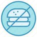 ban fast food, eat, no, prohibited burger icon