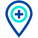 hospital, hospital location, location, medical, pin icon
