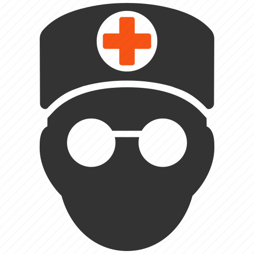 doctor head, first aid man, health, hospital, medic, orderly, paramedic icon