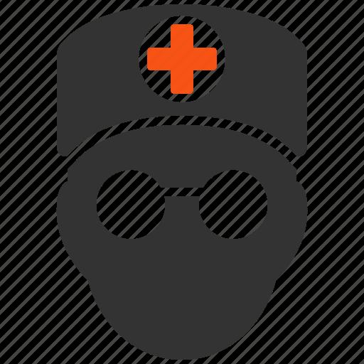 doctor head, first aid man, health, hospital, medic, orderly, paramedic icon
