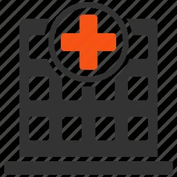 ambulance base, clinic cneter, doctor office, emergency entrance, hospital building, medical company, pharmacy shop icon