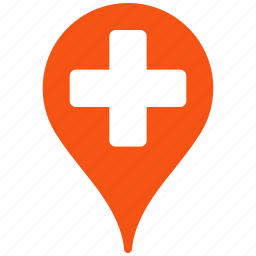 arrow, direction, flag, gps, hospital, location, map, map pointer, marker, navigation, pin, place, point, pointer, position, tag, travel icon