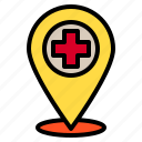 hospital, location, map, medical, pin icon