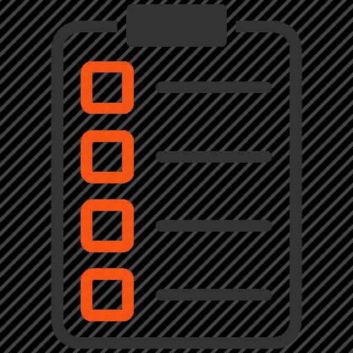 check, document, exam, invoice, list, report, test icon