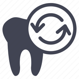 arrows, dental, dentist, medical, refresh, tooth icon