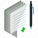 documents, health, healthcare, medical, pages, paper, pen icon