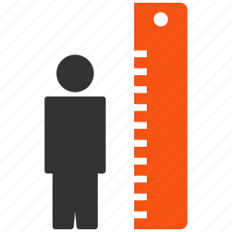 client size, height test, level, measure, meter, ruler, tall icon