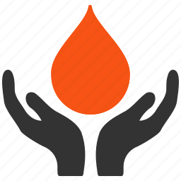 blood, drop, hand, health, heart, medical, support icon