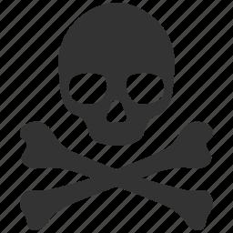 alert, danger, death, face, pirate, skull, warning icon