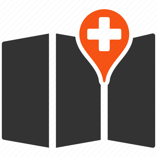 gps, hospital place, map, navigation, pointer, road, travel icon