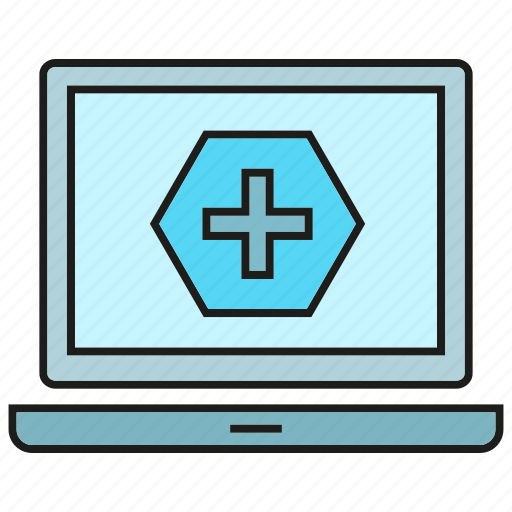 computer, health care, hospital, laptop, medical icon