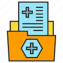 file, folder, health care, medical data, medical record, paper, report icon