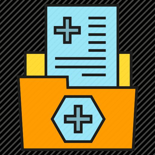 file, folder, health care, medical data, medical record, paper, report icon