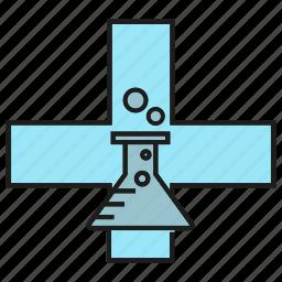 cross, flask, lab, medical, medicine, tube icon