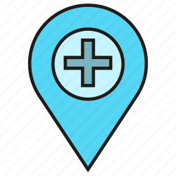 gps, health care, hospital, medical, pin, pointer icon