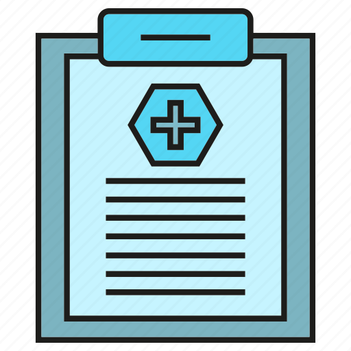 clipboard, document, health care, medical record, medical report icon