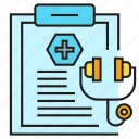 clipboard, document, medical, medical instrumen, medical record, report, stethoscope icon