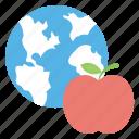apple globe, global health, health awareness, healthcare, world health day icon