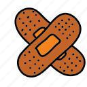 bandages, cut, heal, medical, pain icon