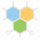 atoms, hexagons, molecular structure, molecule, science icon