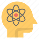 atom brain, human head, innovative mind, inspiration, scientific mind