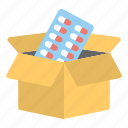 delivery box, medicine delivery, medicine mail, medicine packaging, pharmacy icon