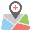hospital location, hospital nearby, location pointer, medical clinic, placeholder icon