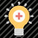 creative idea, inspiration, light bulb, medical innovation, medical technology icon