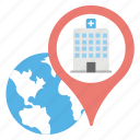 global health, hospital location, international health, medical pointer, medical tourism icon