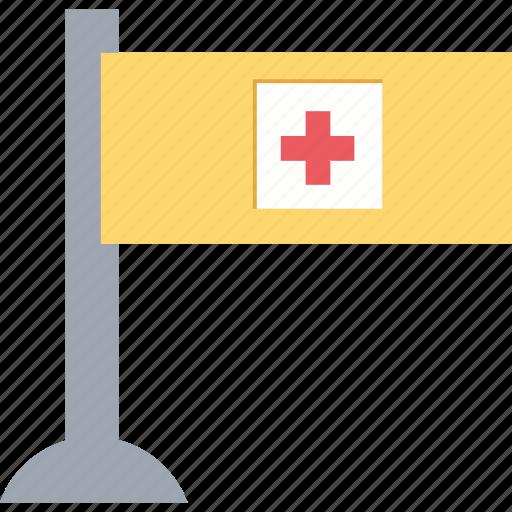 ensign, flag, hospital flag, hospital symbol, insignia icon