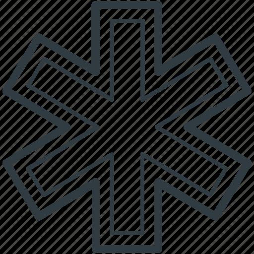 healthcare, medical emergency, medical star, medical symbol, star of life icon