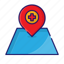 hospital, location, maps, medical icon