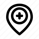 health, hospital, location, medical, pin, place, place location icon