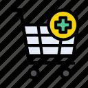 plus, shopping, cart, trolley, medical icon