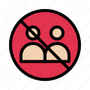stop, notallowed, block, communication, gathering icon