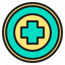 body, buttom, doctor, health, heart, hospital, panic icon