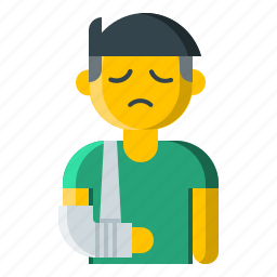 arm, broken, dislocated, fracture, shoulder, sling, support icon